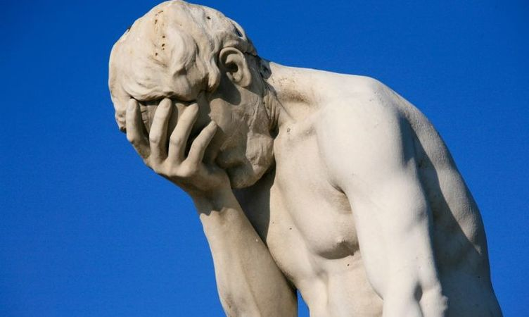Paris Tuileries Garden Facepalm Statue